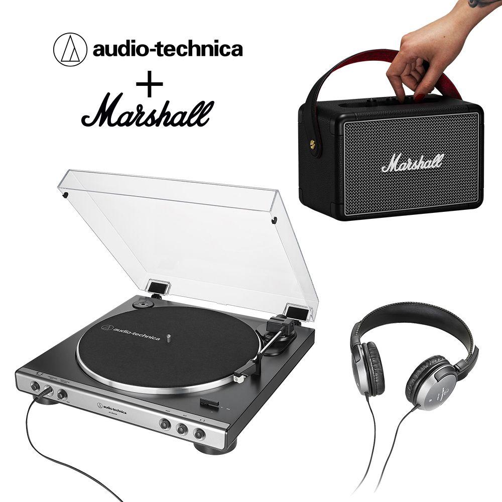 優惠合購組▶鐵三角 AT-LP60XHP 全自動黑膠唱盤 + Marshall KILBURN II 藍牙喇叭◀加贈鐵三角耳機+音源分享器