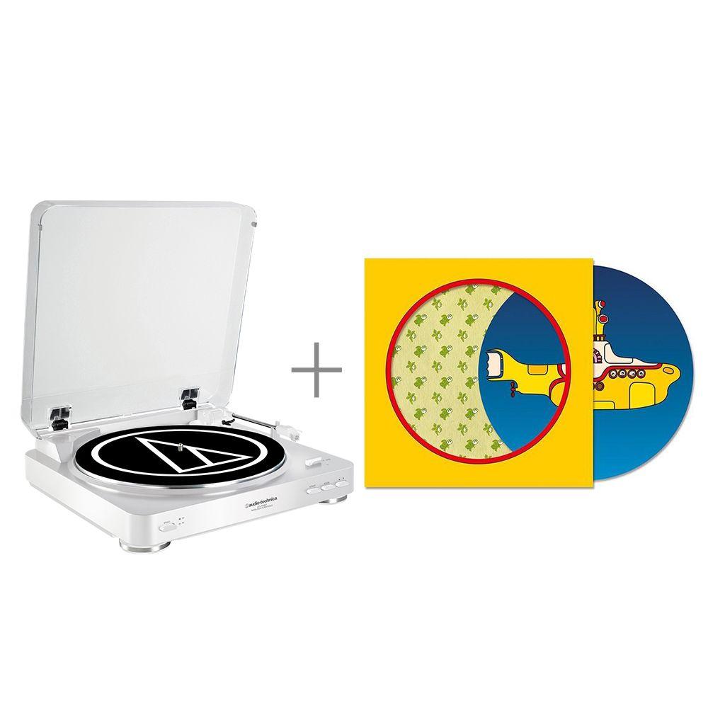 鐵三角 AT-LP60 WH 黑膠唱盤 與 The Beatles / Yellow Submarine 50周年紀念 限量7吋黑膠唱片 組合