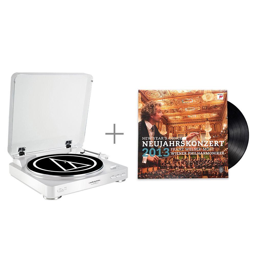 鐵三角 AT-LP60 WH 黑膠唱盤 與 法蘭茲 魏瑟-莫斯特與維也納愛樂 / 2013 維也納愛樂新年音樂會 黑膠唱片 組合