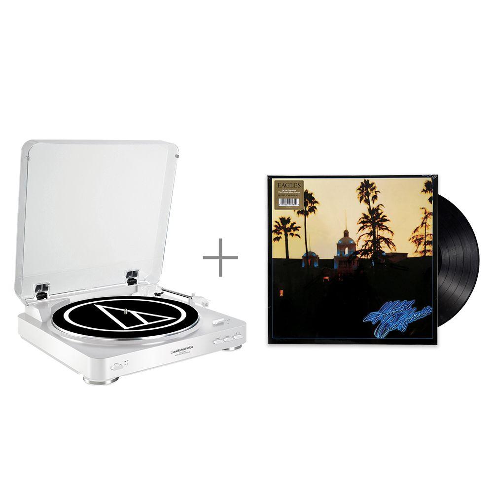 鐵三角 AT-LP60 WH 黑膠唱盤 與 Eagles Hotel California 黑膠唱片 組合
